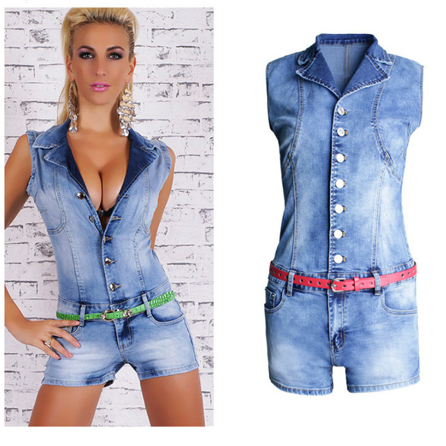622eb6f4dd6b Hot Summer V Neck Denim Overalls short Jumpsuits Sexy skinny Women Jumpsuits  2017 casual Women Jeans rompers WOMEN CLOTHES JEANS