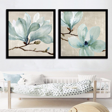 Minimalism Nordic Modern Wall Art Print Canvas Modular Blue Flowers Spray Painting Home Decoration Cafe Pictures Creative Poster