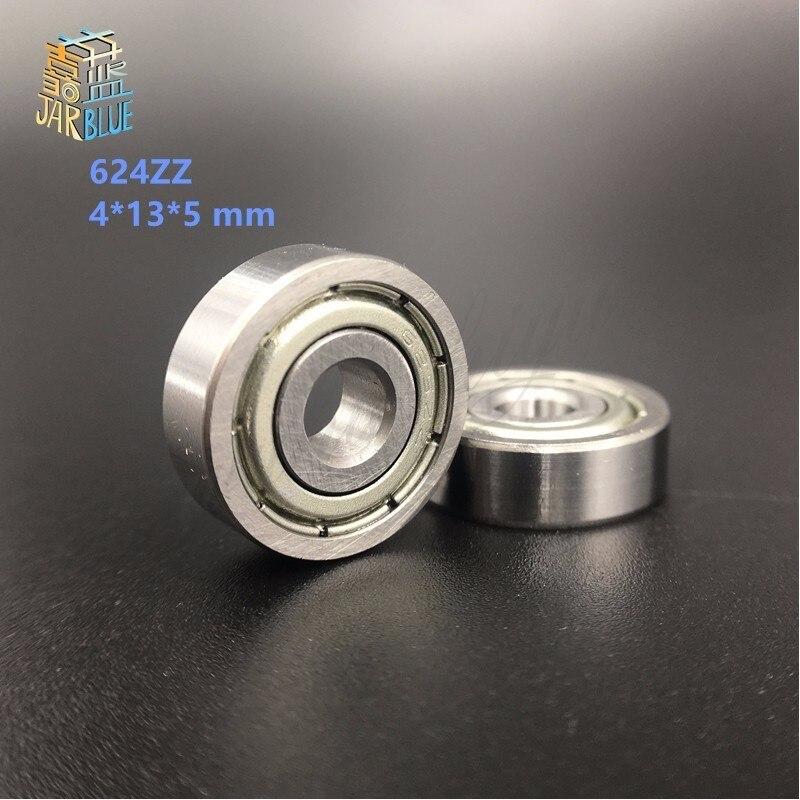 free shipping 10PCS/LOT 624 624Z 624ZZ ball bearing 4*13*5 mm chrome steel bearing for 3D printer free shipping 10pcs mr62zz mr63zz mr74zz mr84zz mr104zz mr85zz mr95zz mr105zz mr115zz mr83zz miniature bearing