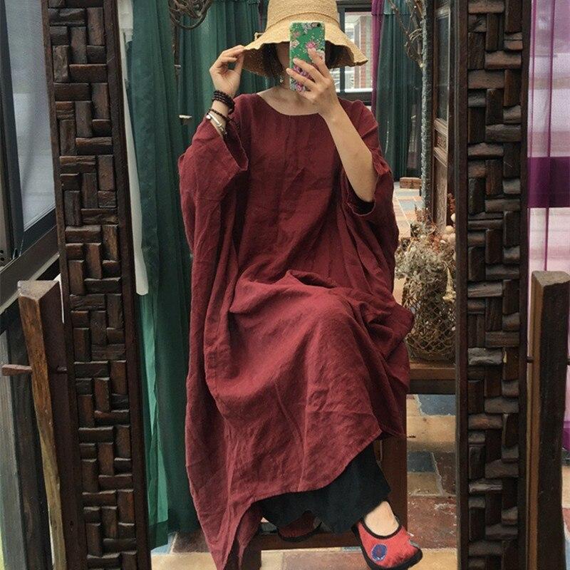 Johnature Vintage Loose Plus Size Bean Paste Color Robe Dresses New 2019 Autumn O Neck Wrist