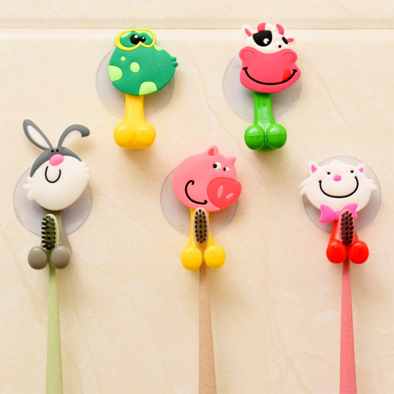 Cute Cartoon Animal Bathroom Toothbrush Holder Hook Vacuum Suction Cups Box On Wall Door Refrigerator Key Holder Storage RackPr image
