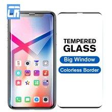 Duże okno bezbarwne obramowanie szkło hartowane dla iPhone X 6 6S 7 8 Plus pełny ekran Protector dla iPhone XS Max XR folia ochronna