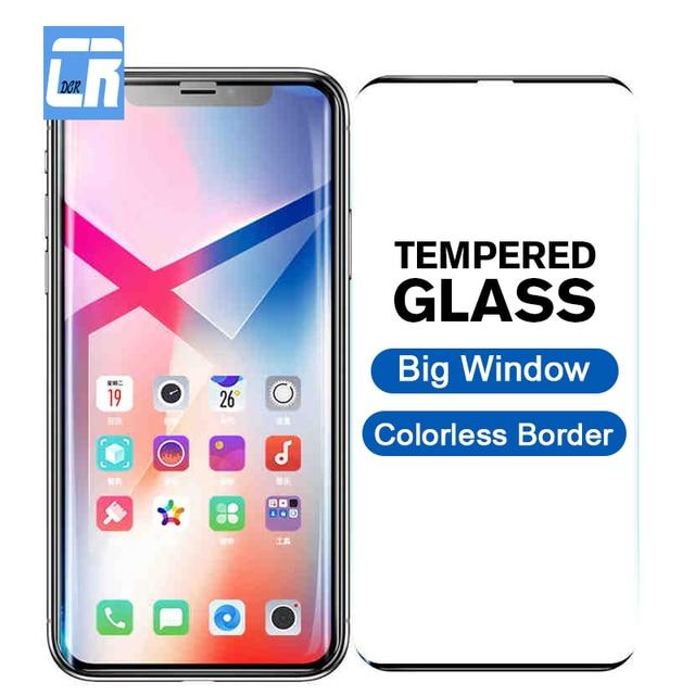 גדול חלון חסר צבע גבול מזג זכוכית עבור iPhone X 6 6S 7 8 בתוספת מלא מסך מגן עבור iPhone XS Max XR מגן סרט