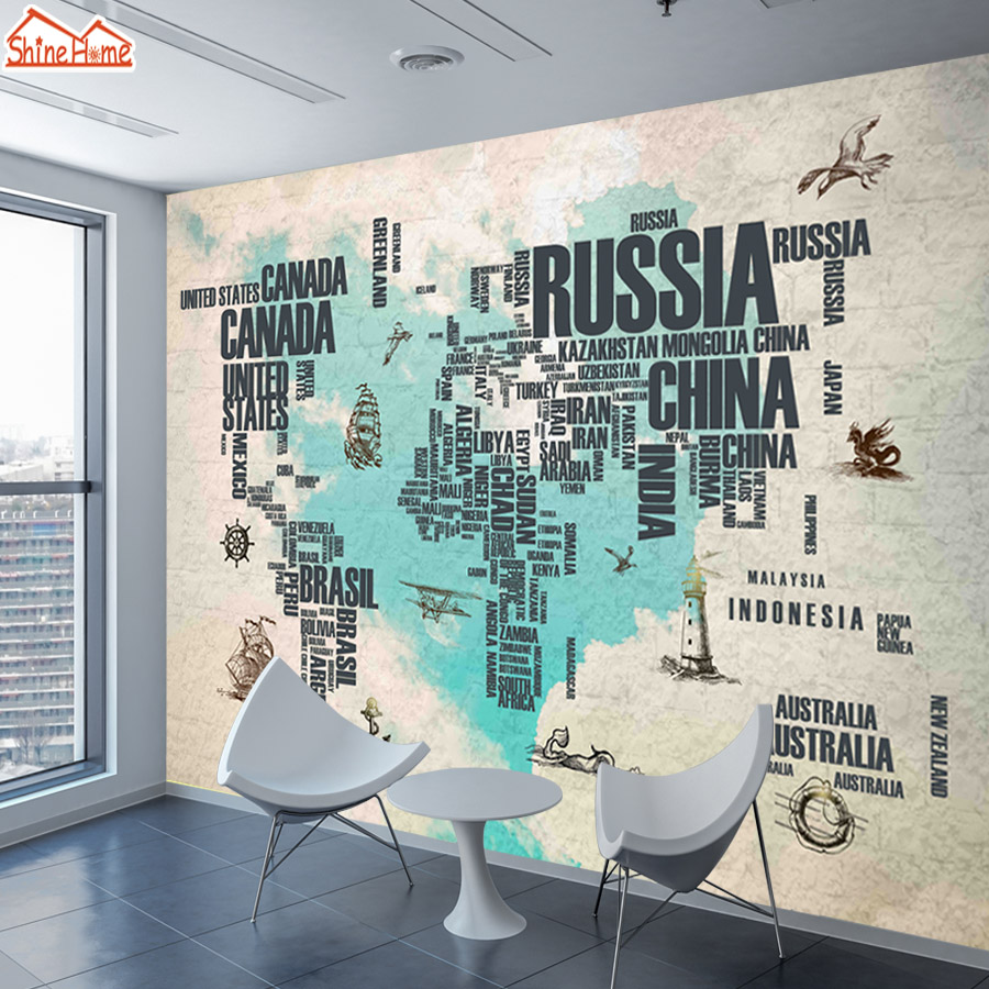 Shinehome customized retro world map wallpaper large mural 3d wall shinehome customized retro world map wallpaper large mural 3d wall murals paper picture wallpapers for 3 d living room bedroom in wallpapers from home gumiabroncs Choice Image