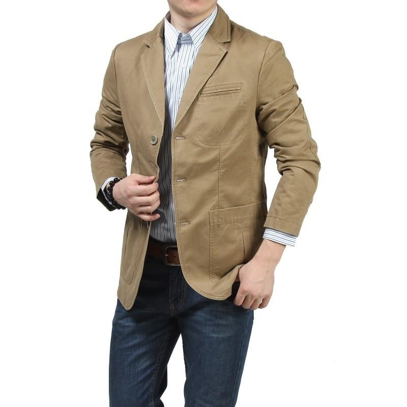 New Fashion Mens Casual Suits Blazer Cotton Coat Military Blazer Jacket V-Neck Brand Clothing Spring Autumn Blazer