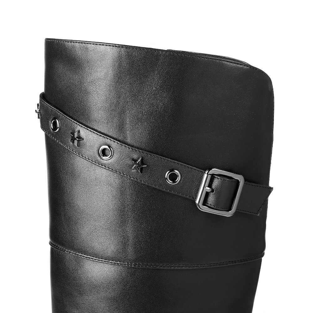Krazing Pot inek deri streç kalın yüksek topuk soba borusu çizmeler kadın sıcak tutmak perçin sivri burun olgun aşırı diz botları L35