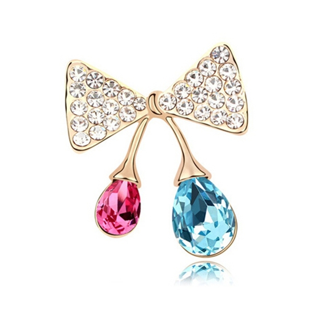Concise Bowknot  crystal brooches Women jewelry