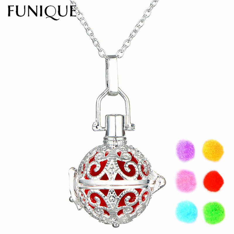 FUNIQUE Hollow Out Aromatherapy Necklace Womens