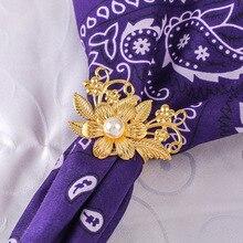 12PCS metal flower and pearl Western napkin ring Hotel set table Wedding wedding buckle
