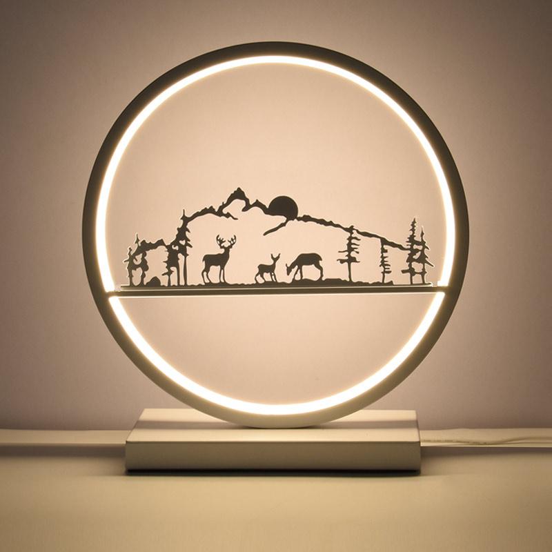 Nordic Ronde Led Bureaulampen Herten Decor Hotel Slaapkamer Bed Licht Wedding Art Decor Tafellamp Verlichtingsarmaturen Afstandsbediening