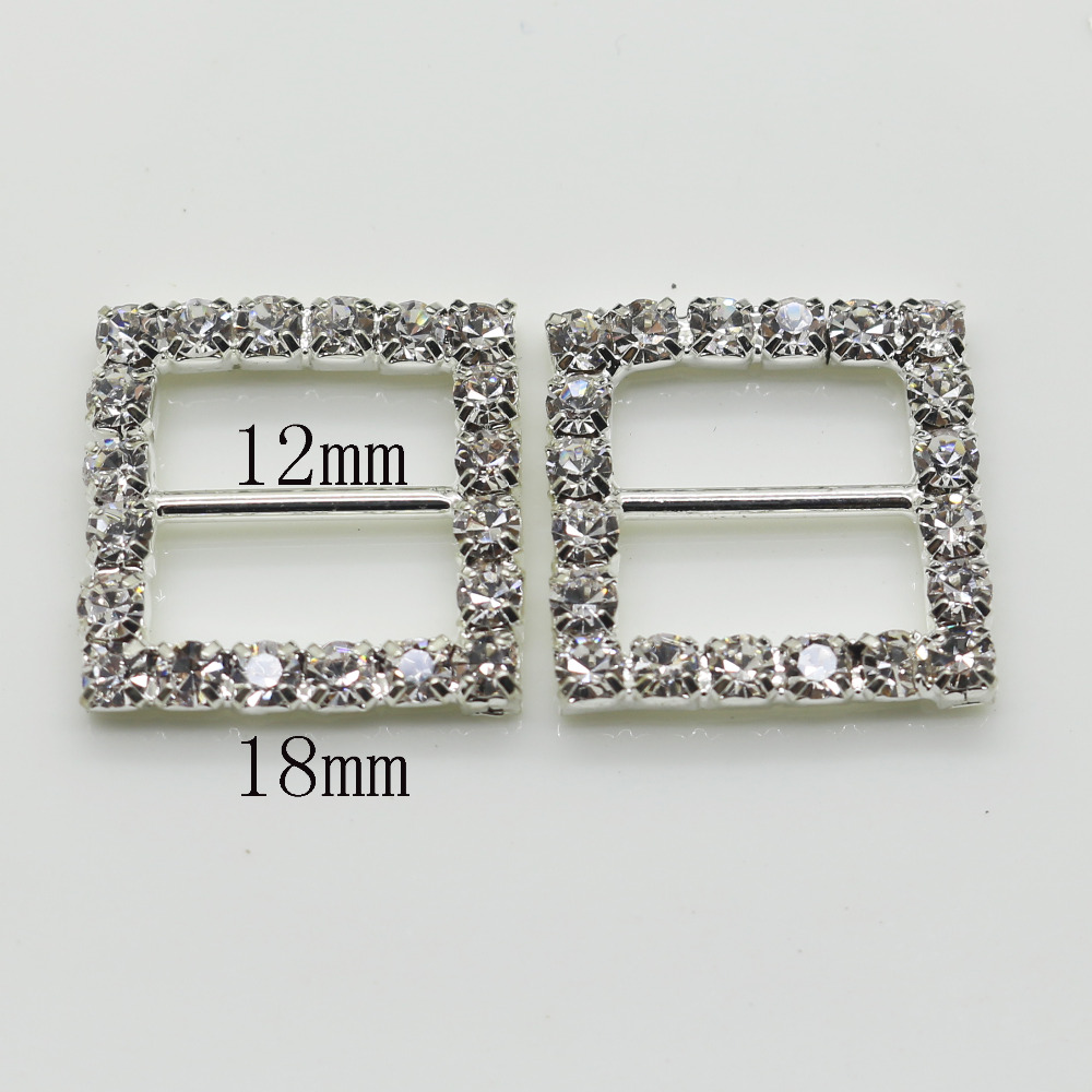 Shiny Square 10pc silver Rhinestone Buckle Diamante Ribbon Slider ...