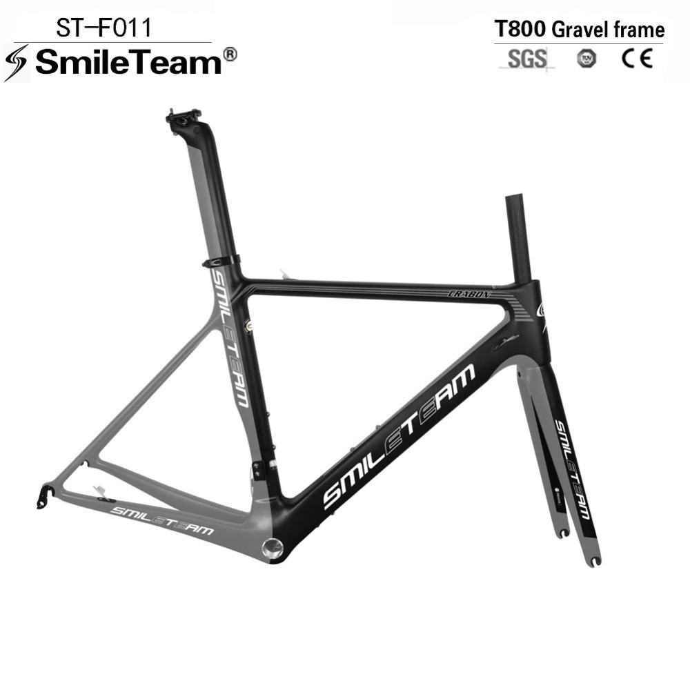 T800 UD Carbon Road Frames Bike Racing Framesets , Road Carbon Cycling Frames with Fork+seatpost+Headset Silver&Black New Color carbon road frameset 2017 carbon road bike frame ud carbon frames with fork seatpost clamp and headset