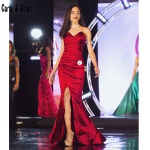 Miss Mundo Borgoña vestidos de noche 2019 sirena largos sencillos Sweetheart lado alto Split vestido de graduación formal barato vestidos para la alfombra roja
