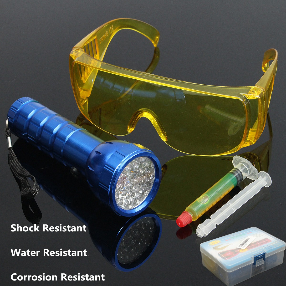 1Set 5Pcs 28LED UV Flashlight Auto Air-Conditioning Leak Glasses Fluorescent Oil For Home Car Repair Tool