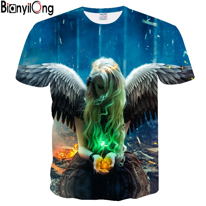 BIANYILONG 2018 New   t     shirt   men Fashion Brand   T  -  shirt   Men/Women Summer 3d Tshirt Print angel   T     shirt   Tops Tees hot men   t     shirt