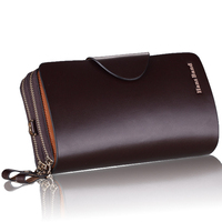 Men Business Upscale Genuine Leather Wallets Luxury Large Capacity Clutch Gift For Male Double Zipper Long