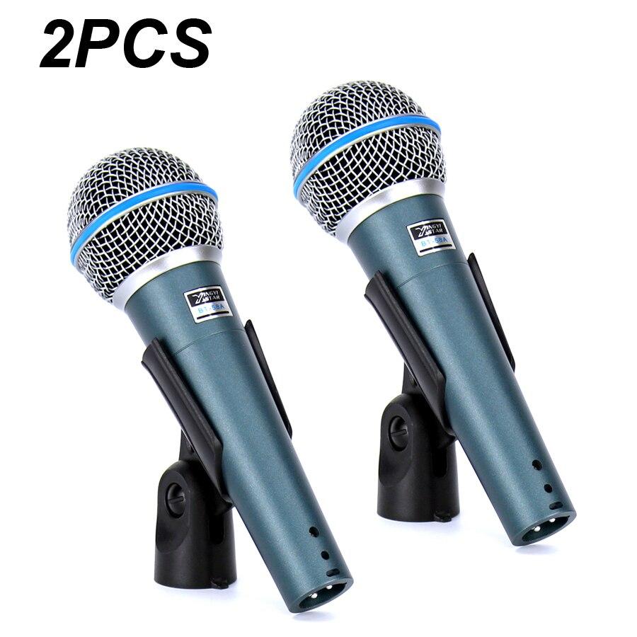 2 pcs BT 58A Professionnel Stade Chanteur Vocal Wired Mic Dynamique Microphone Pour L'enregistrement Vidéo BETA58A BÊTA 58 Karaoké Système KTV