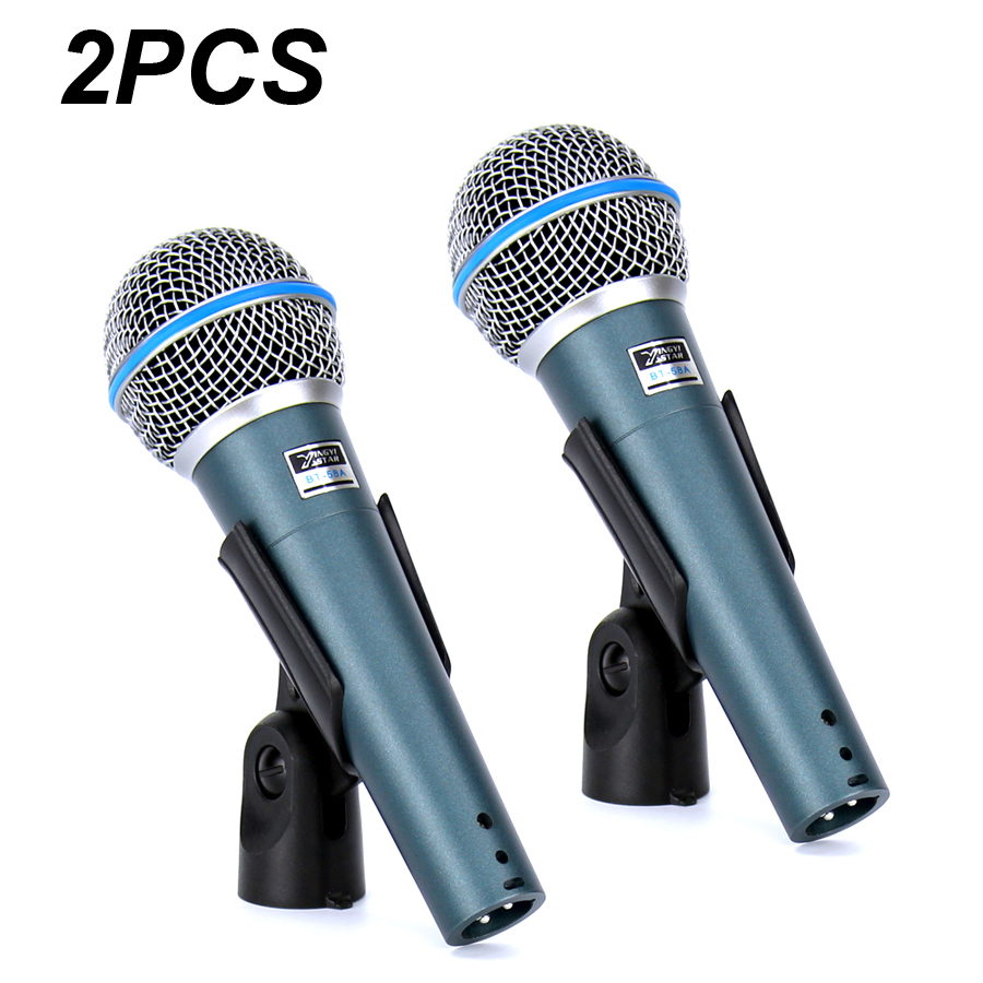 2pcs bt 58a professional stage singer vocal wired mic dynamic microphone for video recording. Black Bedroom Furniture Sets. Home Design Ideas