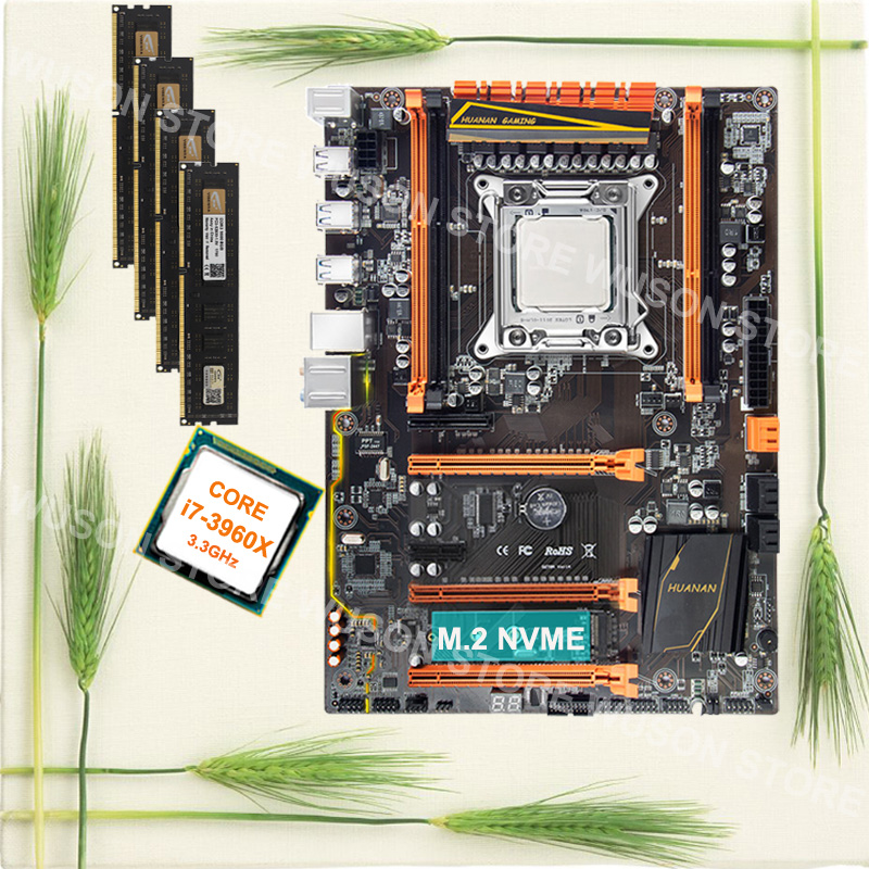 Quality desktop motherboard with M.2 slot HUANAN ZHI X79 motherboard with CPU Core i7 3960X 3.3GHz new RAM 4*8G 1600 32G memory new 845gv motherboard with 478pin 845 1 isa slot 1 com with driver cd