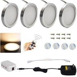 Na mocy światła do szafki światła LED blat kuchenny 3/4/6/8 sztuk pilot zdalnego sterowania 12 LED możliwość przyciemniania prezentacja szafa oświetlenie lampa nocna w Oświetlenie mebli od Lampy i oświetlenie na