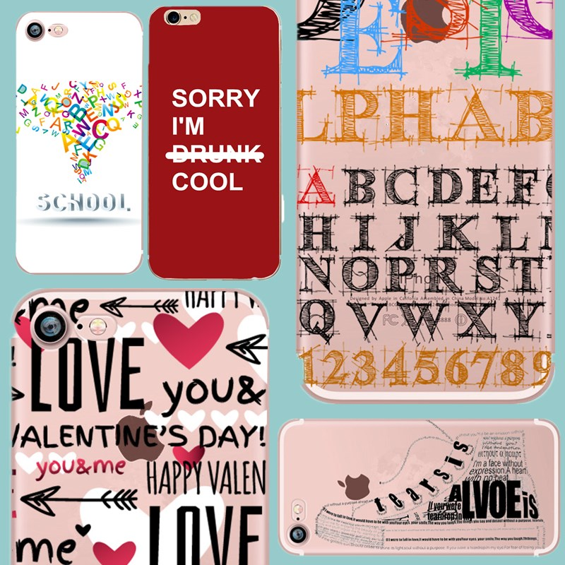 Case For iPhone 6 S Word TPU Capa Soft Silicone Back Cover Case For Fundas For iPhone 7 8 plus 5 5S SE Coque For Couples
