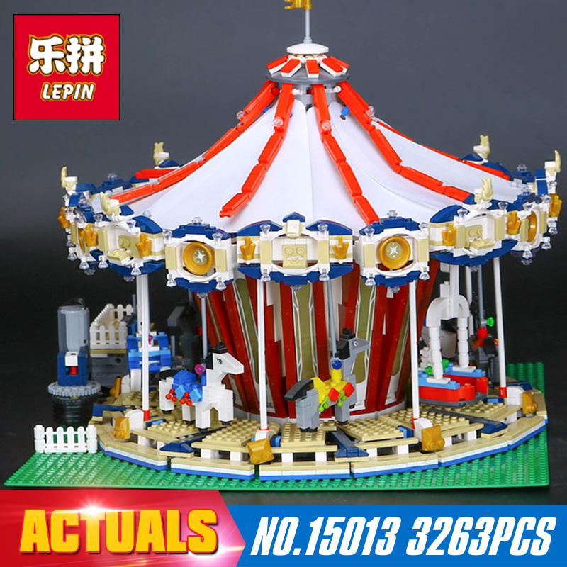 Lepin 15013 3263PcsCity Sreet set Carousel Model Building Kits Blocks Toy Compatible 10196 with Funny Children Educational Gift lepin 16014 1230pcs space shuttle expedition model building kits set blocks bricks compatible with lego gift kid children toy
