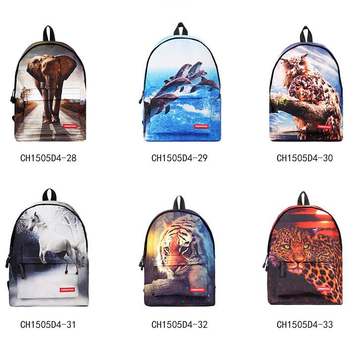 1 piece Animal Men's 3D Elephant tiger dolphin Print Backpack for School Boys Casual College Student Laptop schoolbag Mochila