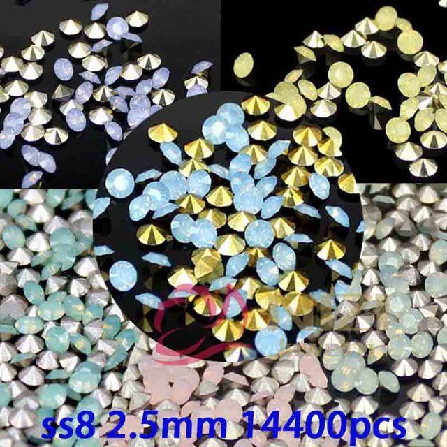 Resina Pointback Pedrinhas ss8 2.5mm 14400 pcs Redondo 6 Cores Cola Não Hotfix Em Diamantes DIY Artesanato Jóias Fazer decoração