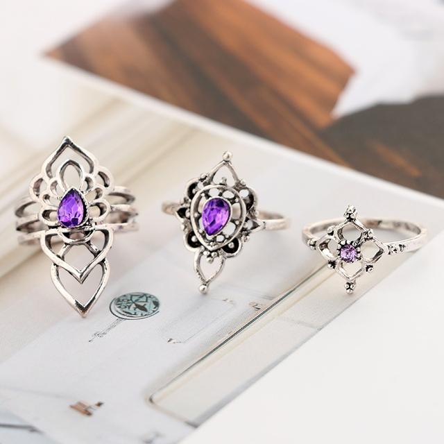 7Pcs Silver Purple Stone Midi Rings