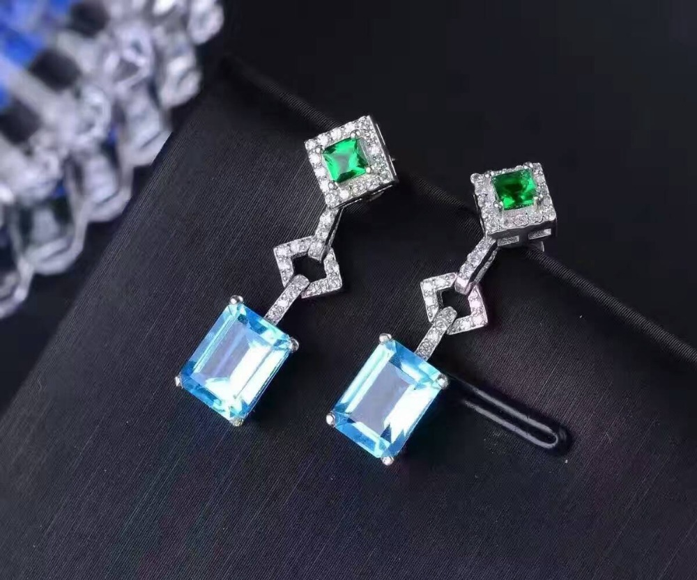 natural blue topaz stone drop earrings 925 silver Natural gemstone earring women Square fine drop earrings jewelry for party square rhinestone floral drop earrings