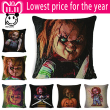 PEIYUAN American Classic Horror Movie Chucky Series Cotton Pillow Cover 45X45cm Car Sofa Decorative Cushion Cover High Quality(China)