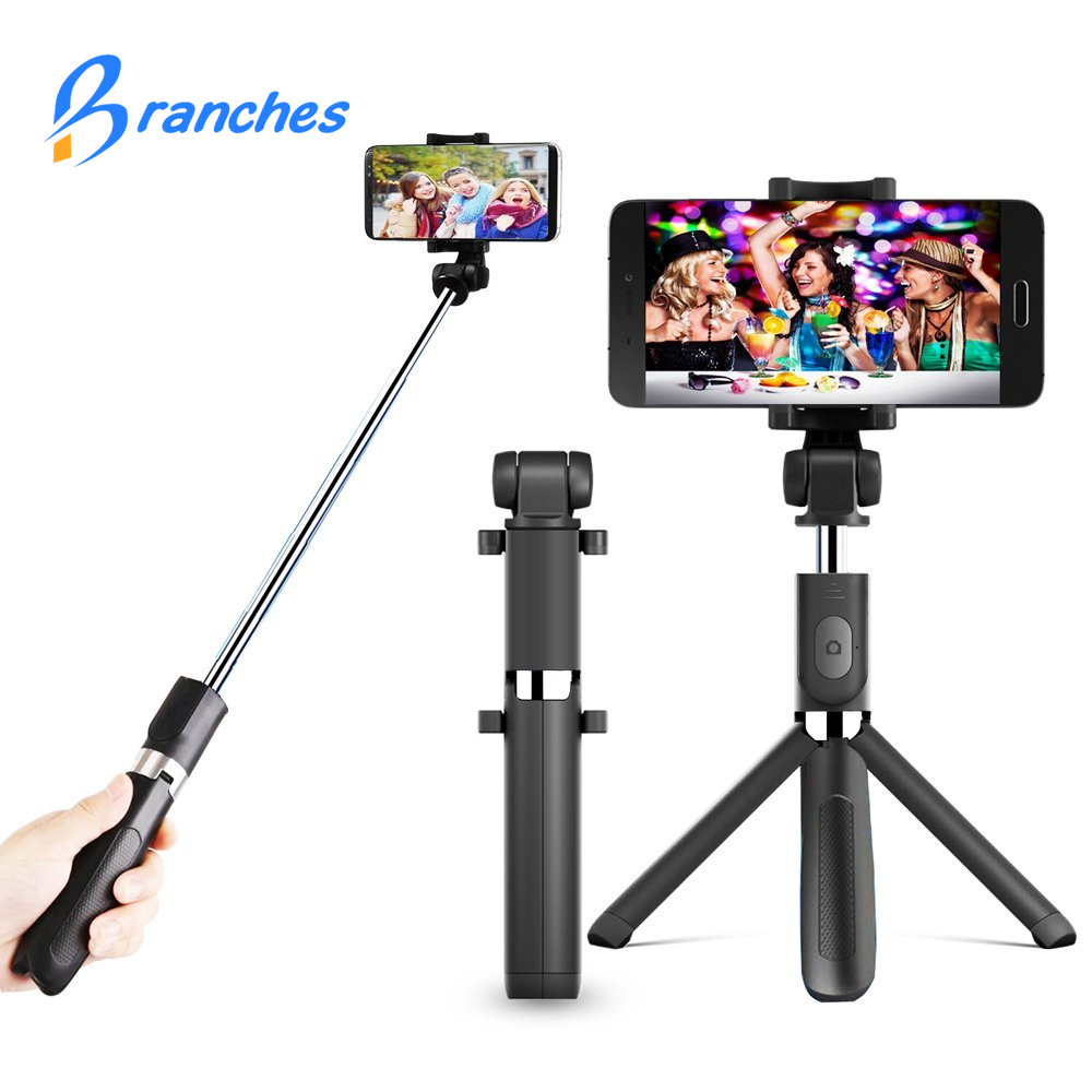 Ramas T2 mi ni Bluetooth pau de selfie Stick + trípode Monopod auto stick bluetooth selfie stick para iphone xiaomi mi android 7 8