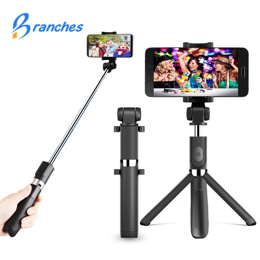 Ramos T2 ni mi pau de selfie vara Do Bluetooth + tripé Monopé Auto vara bluetooth selfie vara para iphone xiaomi mi android 7 8