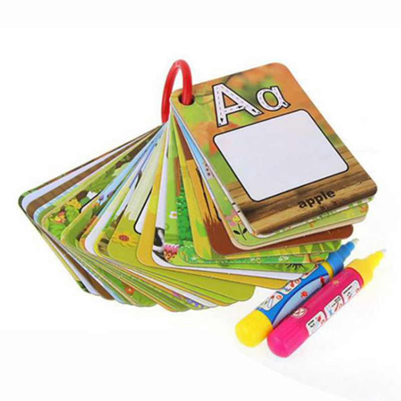 Water Drawing 26 English Learning card Magic with 2 Pen letter card Painting Board Educational Toys for kids