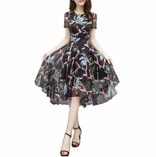 Flying ROC  women casual long dress short sleeve summer o-neck autumn print plus size new arrival