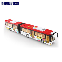 1:50 Extended Long bus / Die Cast double Bus Lights & sound Play/Right door open Models Car Toy Children Collection For Boy gift