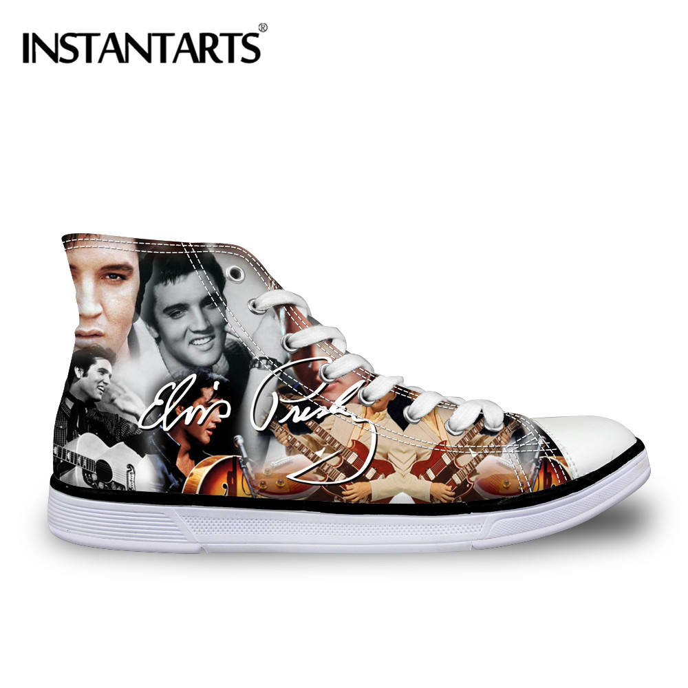 INSTANTARTS 3D Fashion Singer Elvis Print Male Flats Shoes Autumn Lace Up Comfortable High Top Canvas Shoes Classic Boy Sneakers instartants cool 3d galaxy animal dinosaur print chilren kindergarten kids high top canvas shoe outside lace up sneakers for boy