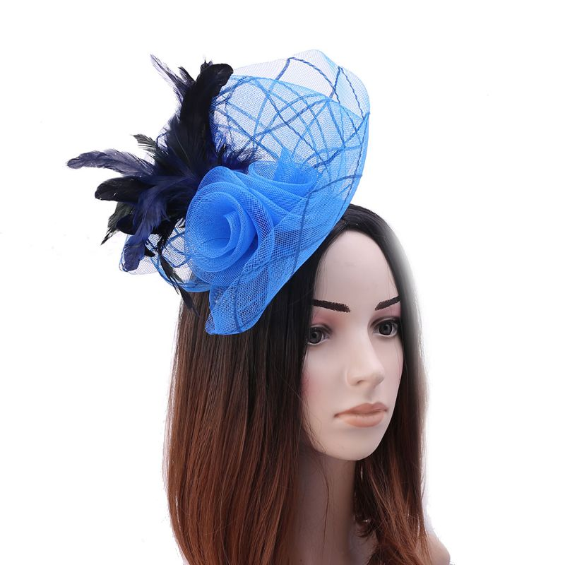 navy blue feather flower fascinator pill box hat hair clip headpiece wedding