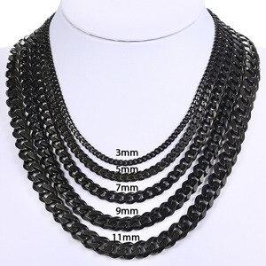 Image 4 - دافيلسي رجالي سلسلة قلادة الفولاذ المقاوم للصدأ الذهب الأسود الفضة اللون 2019 قلادة للرجال مجوهرات هدية 3 5 7 مللي متر LKNM07