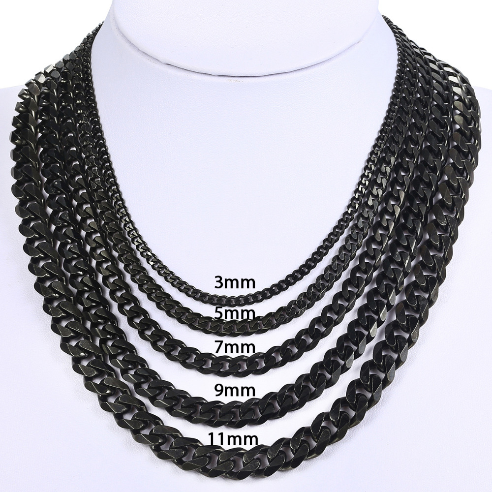 Image 5 - 3/5/7mm Stainless Steel Necklace for Men Women Gold Black Silver  Tone Necklace Curb Link Chains Men Fashion Jewelry Gifts LKN12Chain  Necklaces