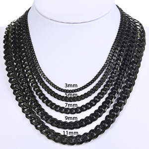 Image 4 - Davielsee Mens Necklace Chain Stainless Steel Black Gold Silver Color 2019 Necklace for Men Jewelry Gift 3 5 7mm LKNM07