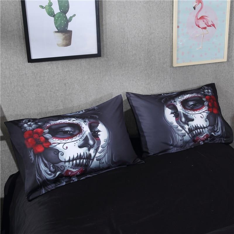 Bonenjoy crânio preto conjunto de cama estilo