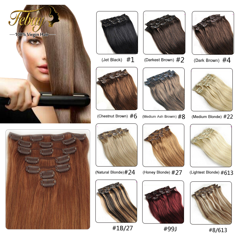 16 24inch Brazilian Virgin Hair Clip In Human Hair Extensions 100g