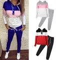 2 Pcs de Moda de Nova Mulheres Casual Cintura Elástica Impressão Calças Basculador Treino Camisola Do Hoodie Camisola Outfits Set
