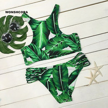 WONSHCORA Green Feather Sexy Floral Bikinis Low Waist Swimwear Women 2017 Beach Swimsuit Fused for Bathing Two Piece Free Ship