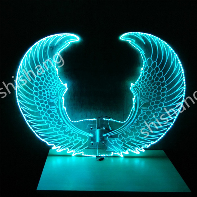 CY04 Colorful <font><b>LED</b></font> illuminated luminous glowing light butterfly <font><b>wings</b></font> ballroom dancing belly party dress dj cloth rechargeable