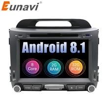 Eunavi 2 Din Android 8.1 car dvd for KIA sportage 2011 2012 2013 2014 2015 pc head unit gps navigation din stereo