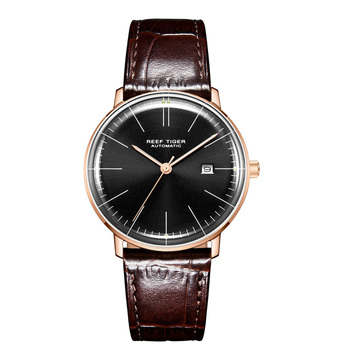 2019 Reef Tiger/RT Top Band Luxury Dress Watch for Men Brown Leather Strap Rose Gold Automatic Watch Montre Homme Clock RGA8215 - RGA8215-PBS