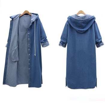 Femael Fashion Loose Long Sleeve Hooded Denim Jacket Coat Ladies Casual Buttons Long Jean Coat Cardigan Outwear Tops 3