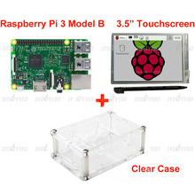 Cheapest prices Raspberry Pi 3 Model B Board +3.5″ LCD Touch Screen Display with Stylus + Acrylic Case Free Shipping